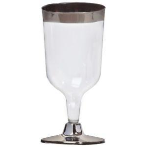 Silver Trim Wine Glass
